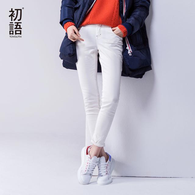 Toyouth 2017 Outono Sólidos Calças Lápis Skinny Slim Calças de Todos Os Jogos Casuais das Mulheres