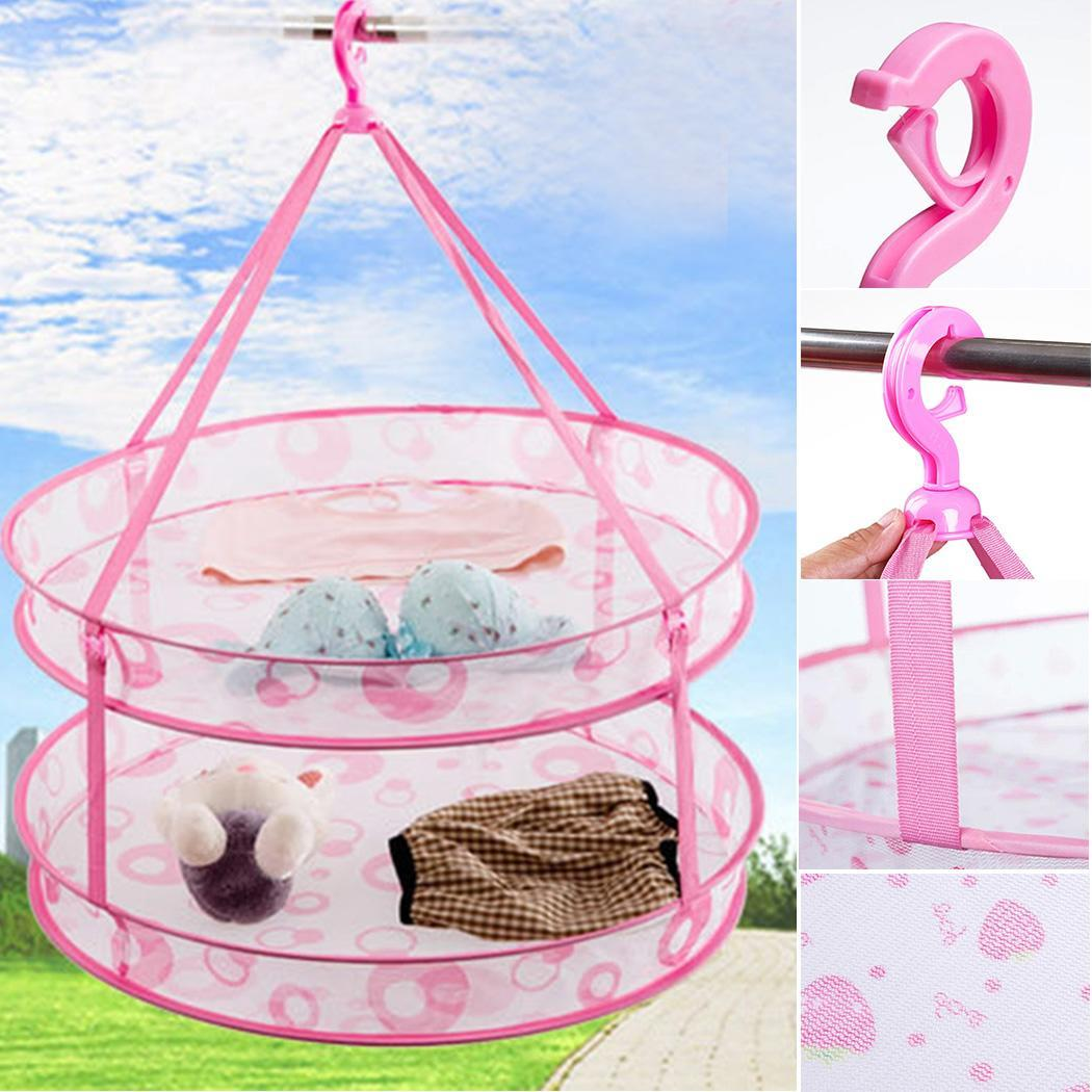 Net Laundry Clothes Up Clothing Hanging Basket Home Folding Dryer Pop Storage