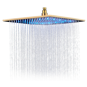 Image 5 - Promotion 8/10/12/16 inch Gold Plated Shower Head Square Rainfall Bathroom Top Over Sprayer LED Faucets Accessories