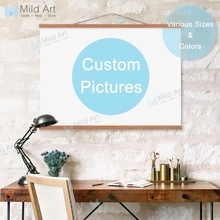 Custom Wooden Framed Canvas Painting Home Decor Scroll Wall Art Print Picture Personalized Photo Large A4 A3 Black Poster Hanger