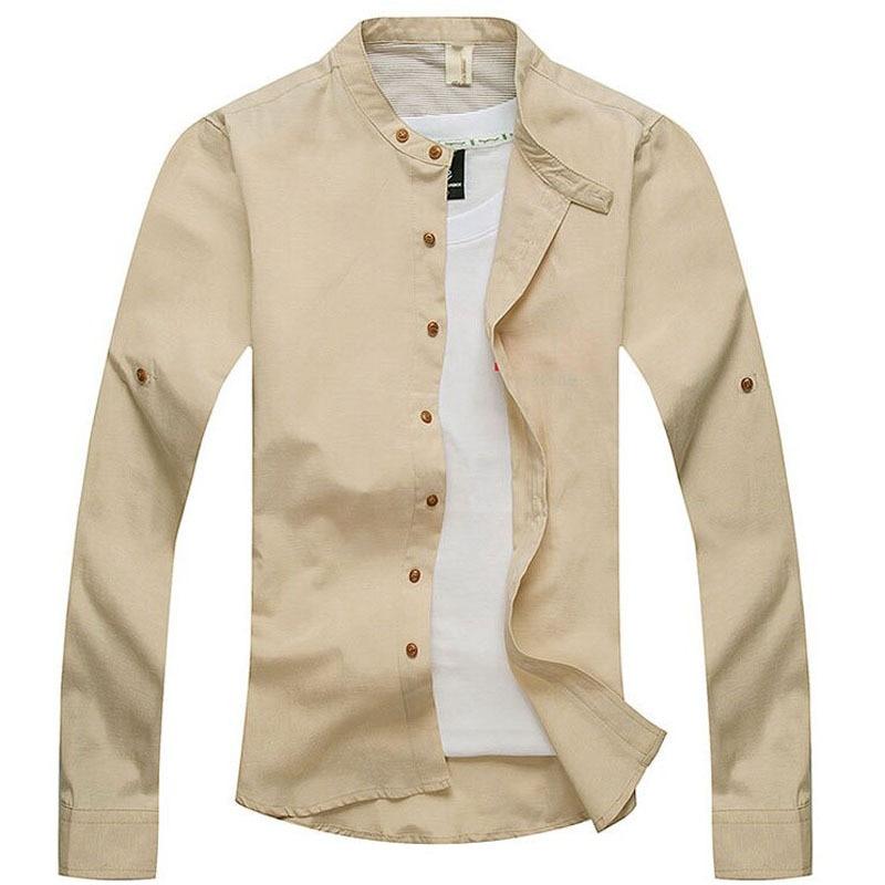 Mens collarless shirts linen artee shirt for Mens linen dress shirt