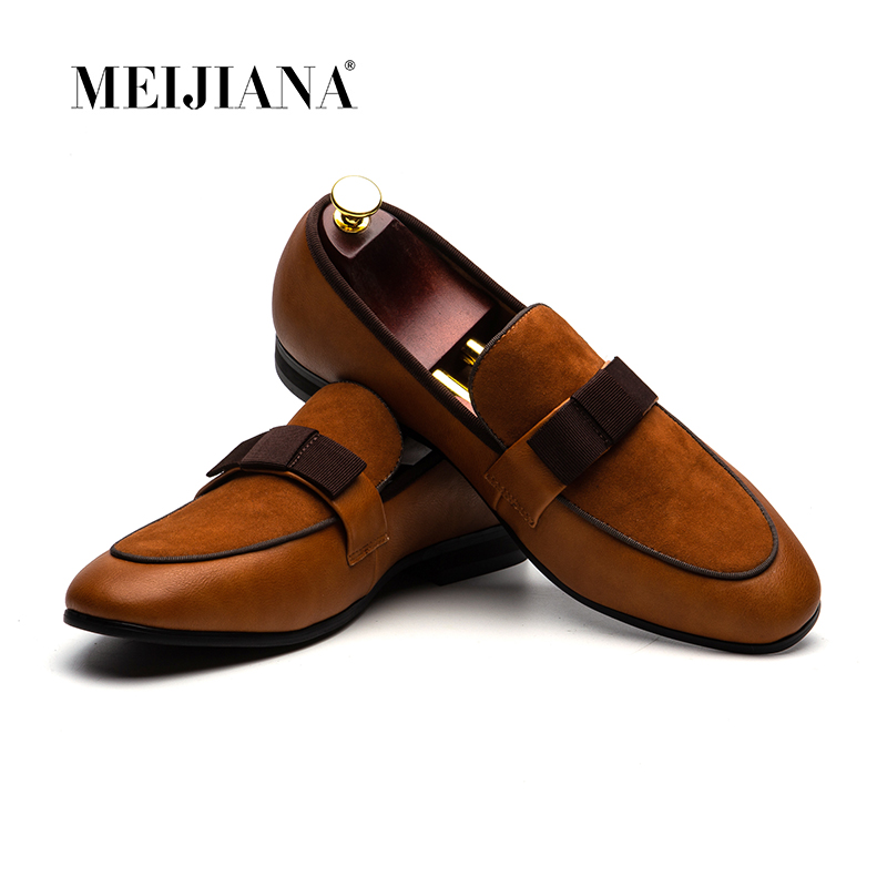Men Wedding Party Dress Shoes Mens Banquet Loafers Genuine Patent Leather And Suede Leather Patchwork With Bow TieMen Wedding Party Dress Shoes Mens Banquet Loafers Genuine Patent Leather And Suede Leather Patchwork With Bow Tie