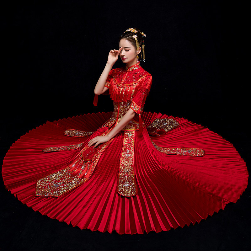New Arrival Traditional Chinese Wedding Dress Long Cheongsam Handmade Embroidery Qipao Dresses Retro Dressing Gown Size S-XXL