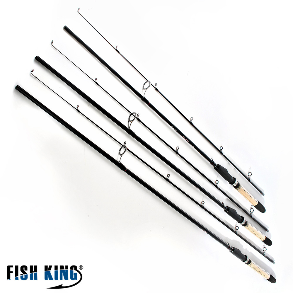 FISH KING carbon spinner fishing rod 2 Section Soft Bait Lure 5-25G Lure Weight Spinning Rod 2.1m 2.4m 2.7m 20-60LB Line peche