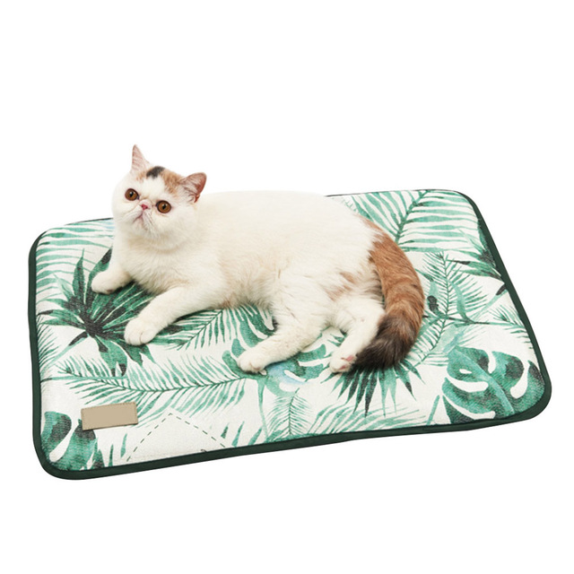 3D Print Summer Ice Silk Pet Dog Cooling Mat For Cat Dogs Floor Mats Blanket Sleeping Bed Cushion Cold Pad 4 Size Pet Supplie 1