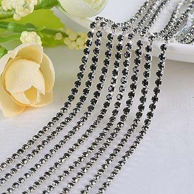 1 ярд/шт, 30 цветов, стеклянные хрустальные стразы на цепочке, Серебряное дно, Пришивные цепочки для рукоделия, украшения сумок для одежды - Цвет: Gray