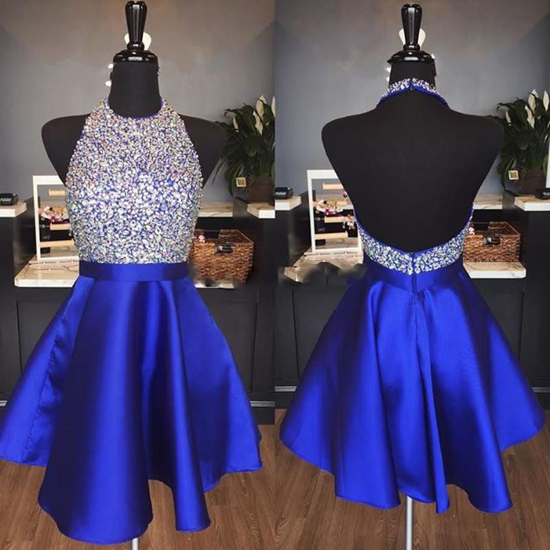 Cheap Royal Blue Satin Backless Homecoming Dresses Halter Sequins Crystal Short Prom Dresses Sparkly Burgundy Formal