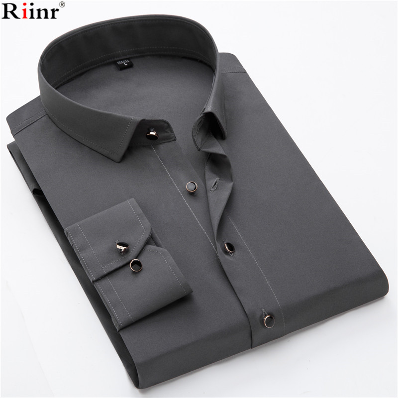 Riinr Brand New Men's Shirt High Quality Business Gentleman Solid Color Black Button Long Sleeve Camisa Masculina White Shirt