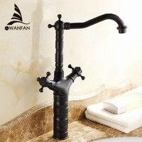 Free Shipping Black Antique Brass Double Handle Bathroom Basin Mixer Tap Sink Faucet Vanity Faucet Bath