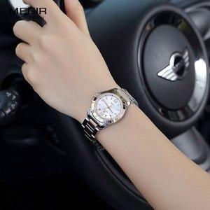 Image 4 - Megir 간단한 스틸 쿼츠 손목 시계 여성을위한 미니멀리즘 아날로그 시계 여성 시계 시간 방수 Relogios 5006L 7N0