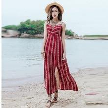 2019 Plus Size Straight Dress Women Summer Red Print Sleeveless Spaghetti Strap V-neck Bohemian Casual Dress Beach Party Dresses red spaghetti v neck sleeveless bodysuits
