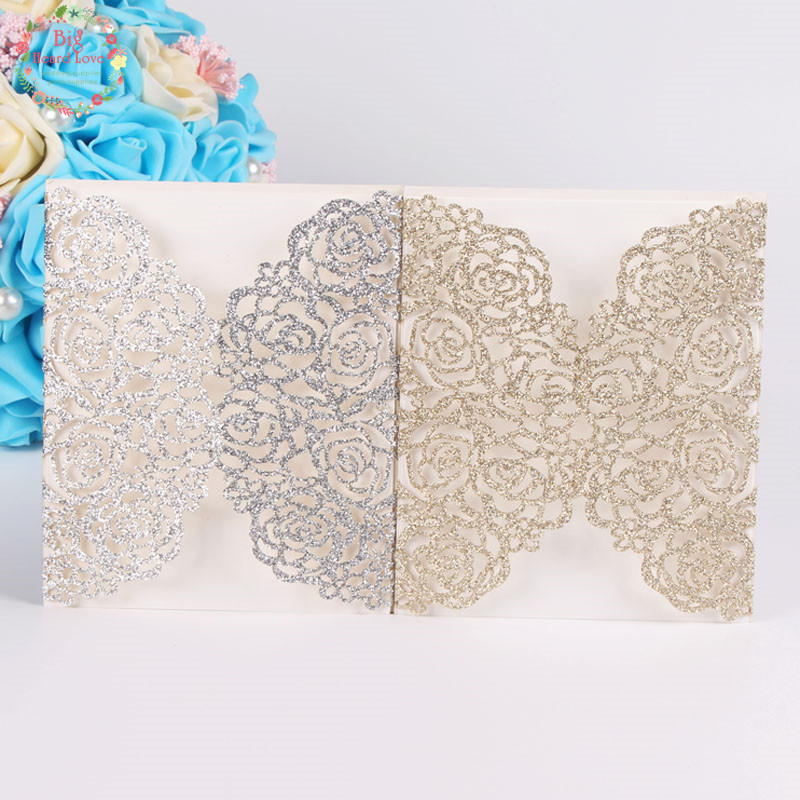 Big Heard Love 50sets lots Glitter Paper Flower Wedding Invitation Card Laser Cut Invitation Card for