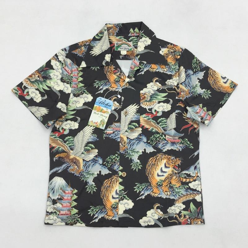 Bob Dong Men's Vintage Hawaiian Aloha Floral Shirt Mount Fuji Dragon Tiger Eagle Pattern Hawaii Beach Party Cruise Luau Shirts tropical luau party picks 50ct