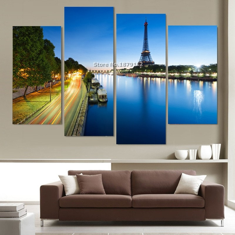 Hot Sale 4 Piece Modern Wall Canvas Painting Paris Tower Building Night Home Decorative Art Picture Paint On Canvas Prints