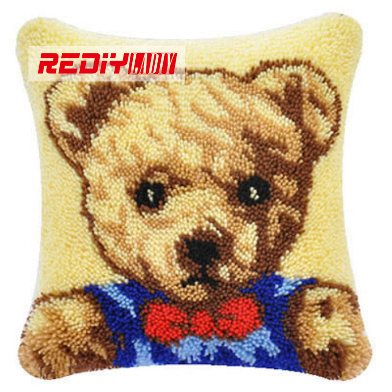 LADIY Latch Hook Cushion Kit Yarn for Embroidery Cushion Cover Bear Bow Tie Pillow Case Chair Cushion Decorative Pillow BZ314