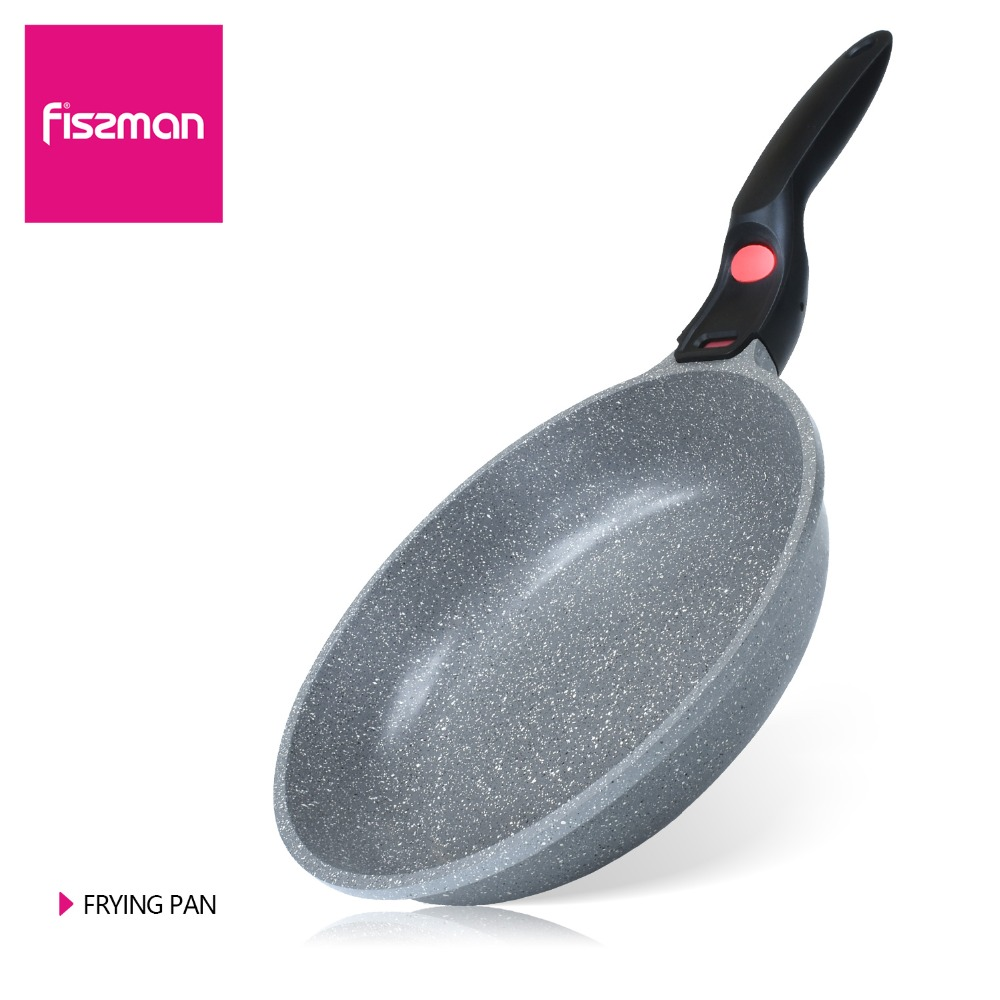 FISSMAN Frying Pan Non stick Marble Alminum Detachable Handle with Red Push Bottom Dot Induction Cookware