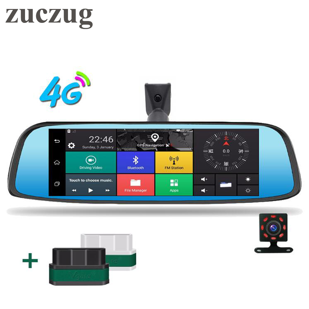 Zuczug 8 ''4 г Touch IPS зеркало автомобиля DVR Камера GPS Bluetooth WI FI Android зеркало Двойной объектив видео Регистраторы тире cam ELM327