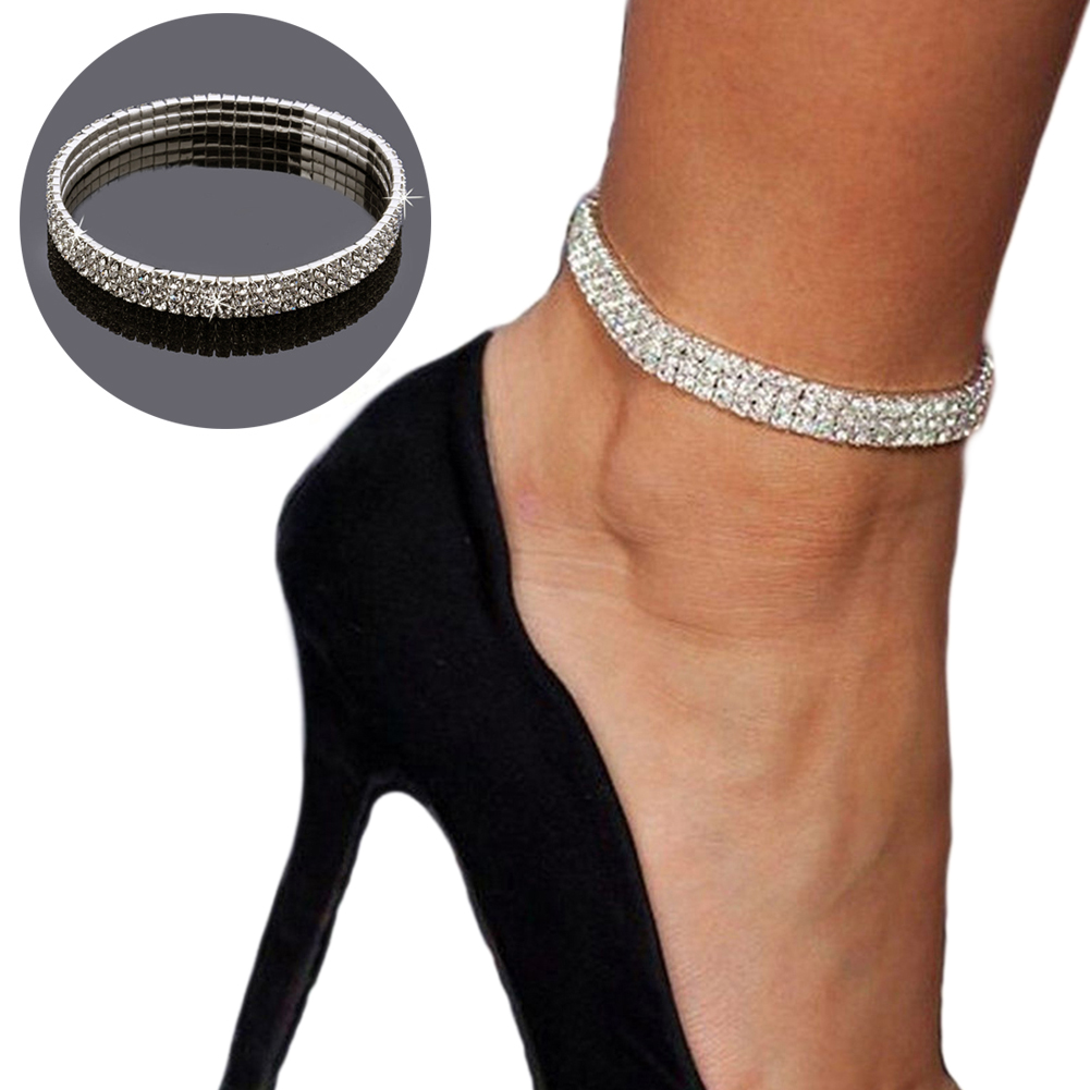 Flash Drill Row Elastic Crystal Anklet 3-Row Three Row Crystal Rhinestone Stretch Ankle Anklet Gift