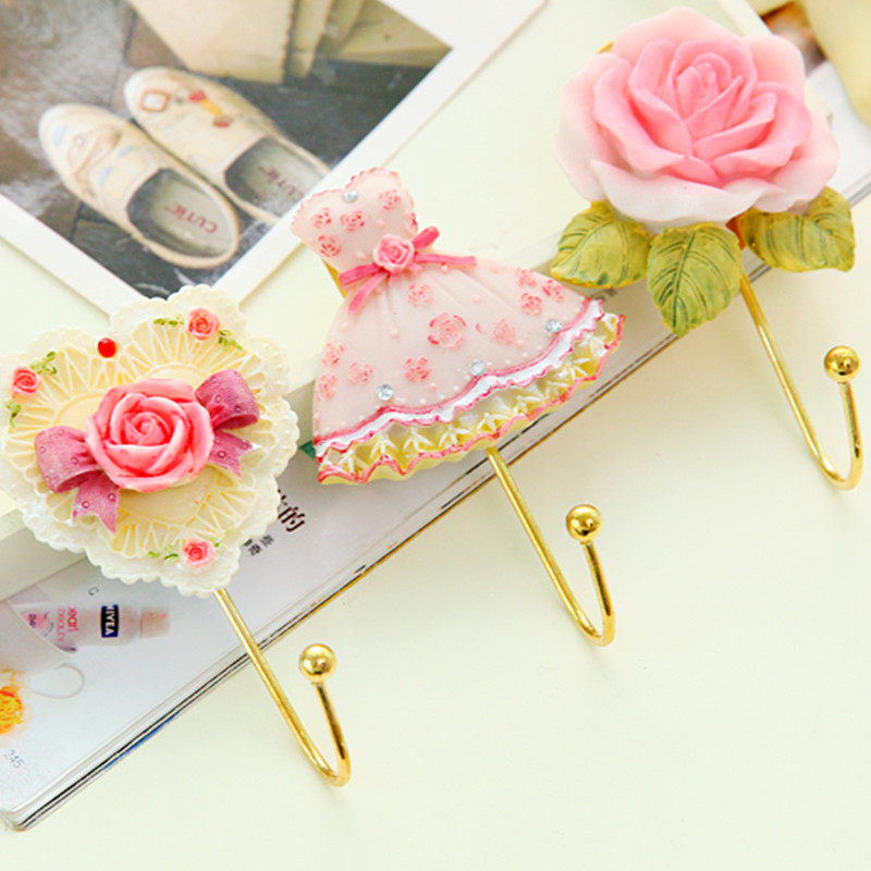 Rose blume form Harz Klebrigen haken Handtuch schlüssel tasche halter aufhänger Organisiert lagerung rack-home decor wand regal