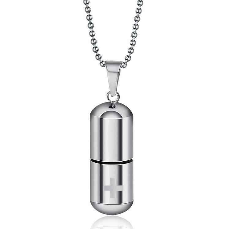 Fashion Jewelry Simple Personality Pills Titanium Steel Pendant Stainless Steel Capsules Pendant Necklace