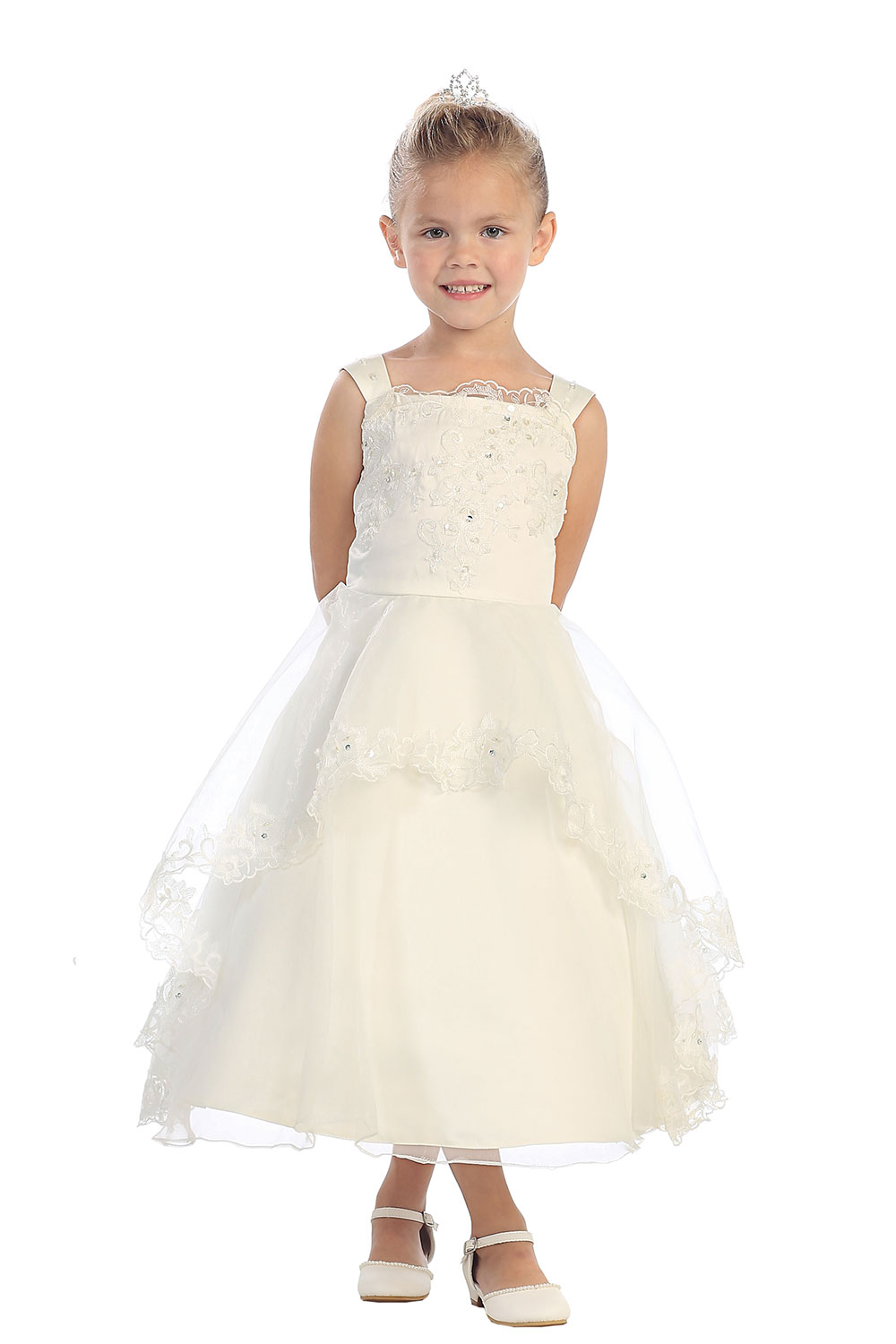 A-Line First Communion Dresses for Girls Mid-Calf Flower Girls Dresses For Wedding Gowns Pageant Dresses for Little Girls blue pageant dresses for little girls a line spaghetti straps solid appliques crystal lace up flower girl first communion gowns