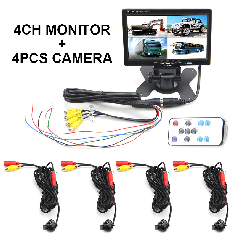Sinairyu 7 4 Split Screen Car Monitor 4 Channels Display For Reversing Camera System Car Rearview Monitor Reverse Backup Camera podofo 7 inch 4 split screen car monitor 4 channels tft lcd display dc 12v for reversing camera system car rearview monitor