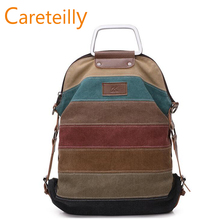2019 Hot Sell Multi functional  Vintage Canvas backpack Laptop School Backpack Striped Rucksacks