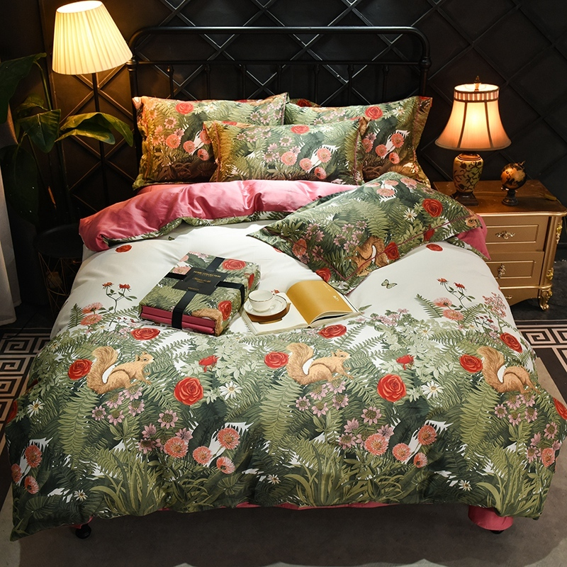 Floral Chinoiserie Blossom Leaves Duvet Quilt Cover Twin Queen King Size Egyptian Cotton Soft Bedding Set Fitted Bed Sheet Set