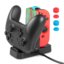 Charging Dock 4 in1 Charger Stand for Nintend Switch Joy-Con/Pro Controller +Additional 6 in 1 Silicone Case&1 USB Type-C Cable
