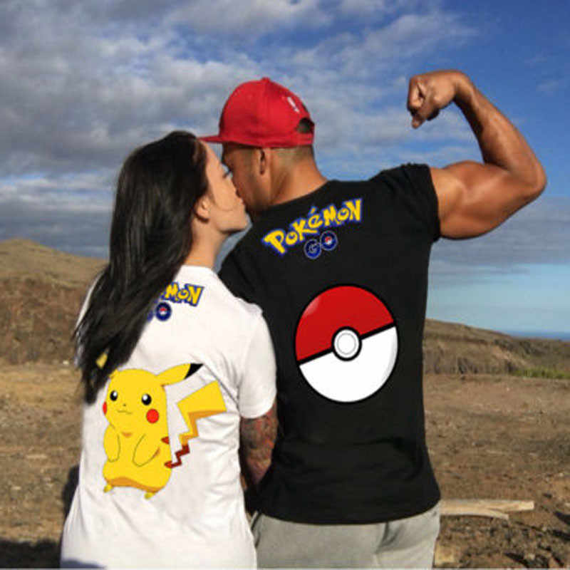 21e0e51c61ec8 2016 New Fashion H1096 Design Summer Pokemon Pikachu Comics Printed Tops  Funny Fallow Short Sleeve Coupl
