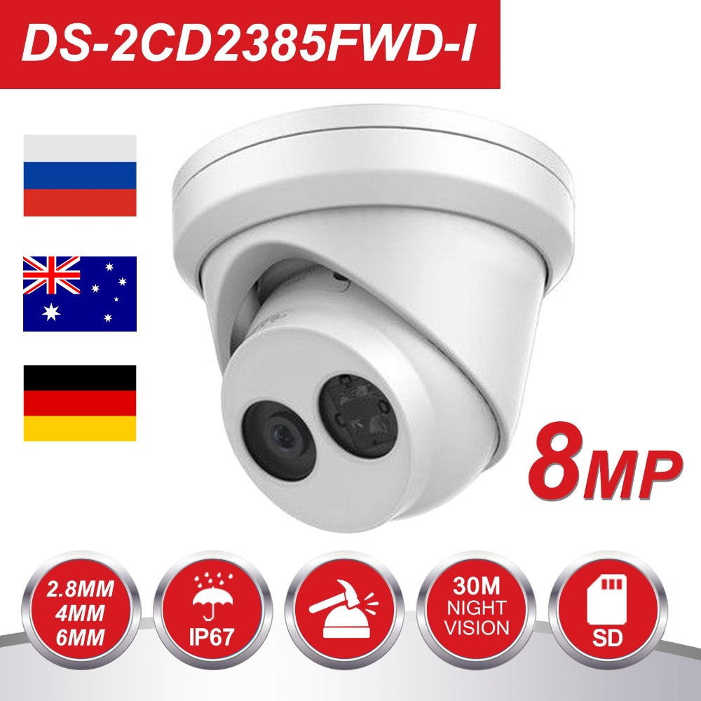 HiK 8MP POE IP Camera Outdoor DS-2CD2385FWD-I 8 Megapixel IR Turret CCTV Video Surveillance Camera H.265 With SD Card Slot