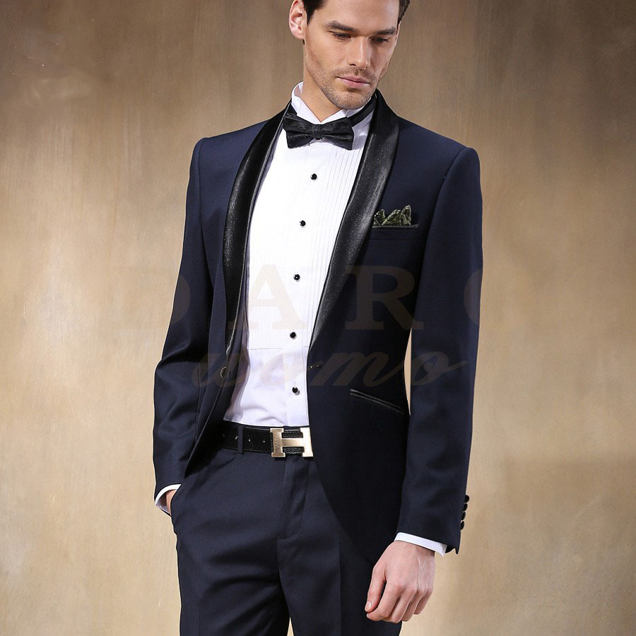 New Arrival Male Wedding Dress Groom Wear Tuxedos Man S Party Suit Full Top Quality Slim Fit Blue Jacket Pants Bowknot In Suits From Men Clothing