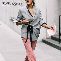 TWOTWINSTYLE Plaid Lace Up Tunic Blazer For Women Pleated High Waist Big Size Tops Female Long