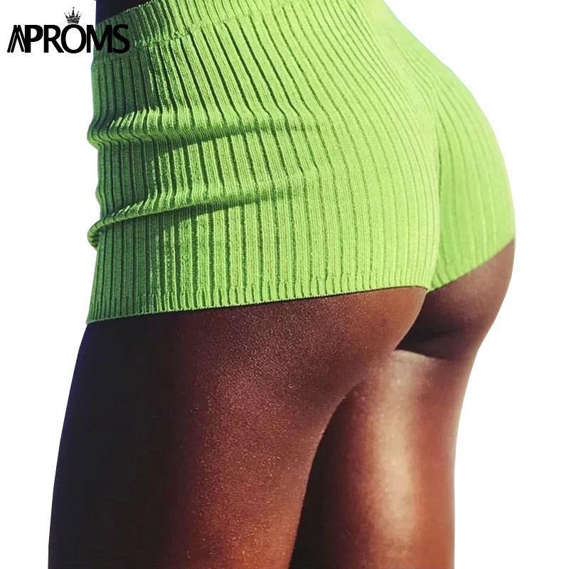 Aproms Elegant Candy Color Knitted High Waist   Shorts   Women Summer 2019 Cool Girls Streetwear Beach Elastic   Shorts   Female Bottom