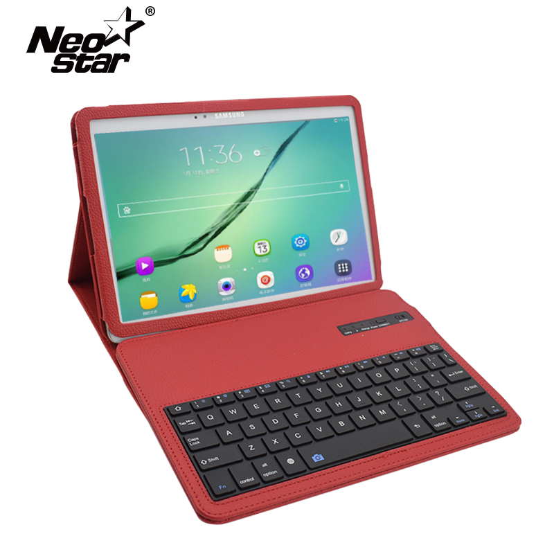 For Samsung Galaxy Tab S2 9.7 T810 T815 Wireless Bluetooth Keyboard PU Leather Flip Cover Screen Protector + Stylus Pen ultra thin smart flip pu leather cover for lenovo tab 2 a10 30 70f x30f x30m 10 1 tablet case screen protector stylus pen