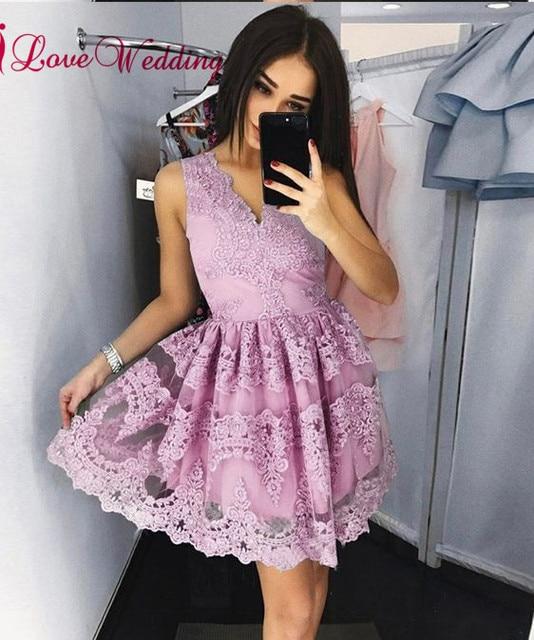 Hot Sale 2018 Sexy V Neck Lace Applique Custom made A Line Lilac Short Party Prom Dresses