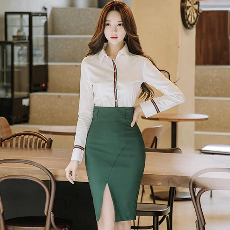 367267050303 Full Sleeve Office Blouse Shirt Women Two Pieces Sets Slit Pencil Bodycon  Skirts Knee-Length