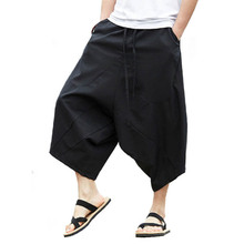 Men Linen 면 Trousers Calf-Length Pants Mid-허리 느슨한 폭 Legger 체조 복 Baggy 폭 가랑이 하렘 Pants m-5XL(China)