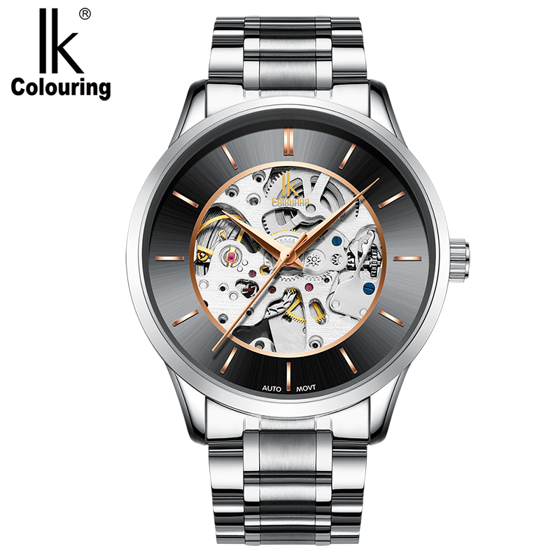 IK colouring Watches Men's Automatic Watch Business Analogue Stainless Steel Mechanical Mens Watch|Mechanical Watches| |  - title=
