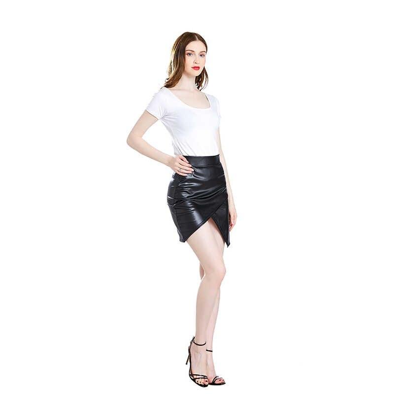 Rok Wanita Jupe Femme Musim Semi Musim Panas Kulit Pu Pendek Rok Wanita Tinggi Pinggang Slim Tidak Teratur Rok untuk Wanita Saias perban