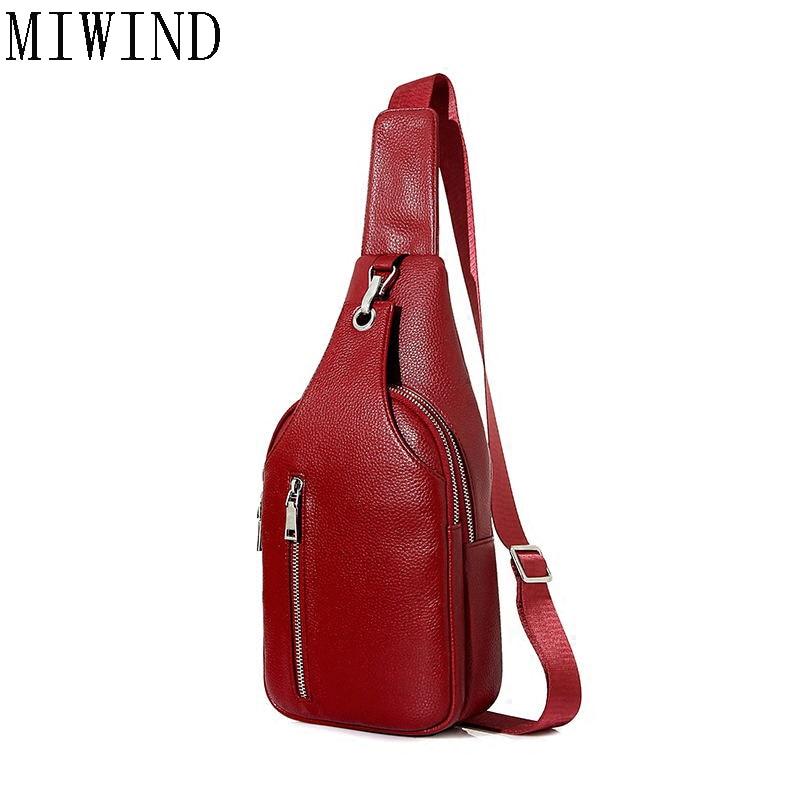 MIWIND Brand Bag Men Chest Pack Single Shoulder Strap BackBag Leather Travel Women Crossbody Bags Vintage Chest BagTMC423
