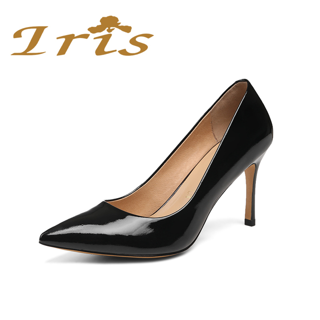 new Women's Pumps Single Shoes Low Heel Patent Leather Pointy Toe Hot Black US 7