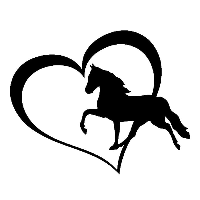 136109cm Vinyl Car Sticker Love Symbol And Running Pony Cute Car