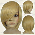 16 inch Hi_Temp Beige Blonde Long Layer Bob Cut Short Cosplay DNA Wigs