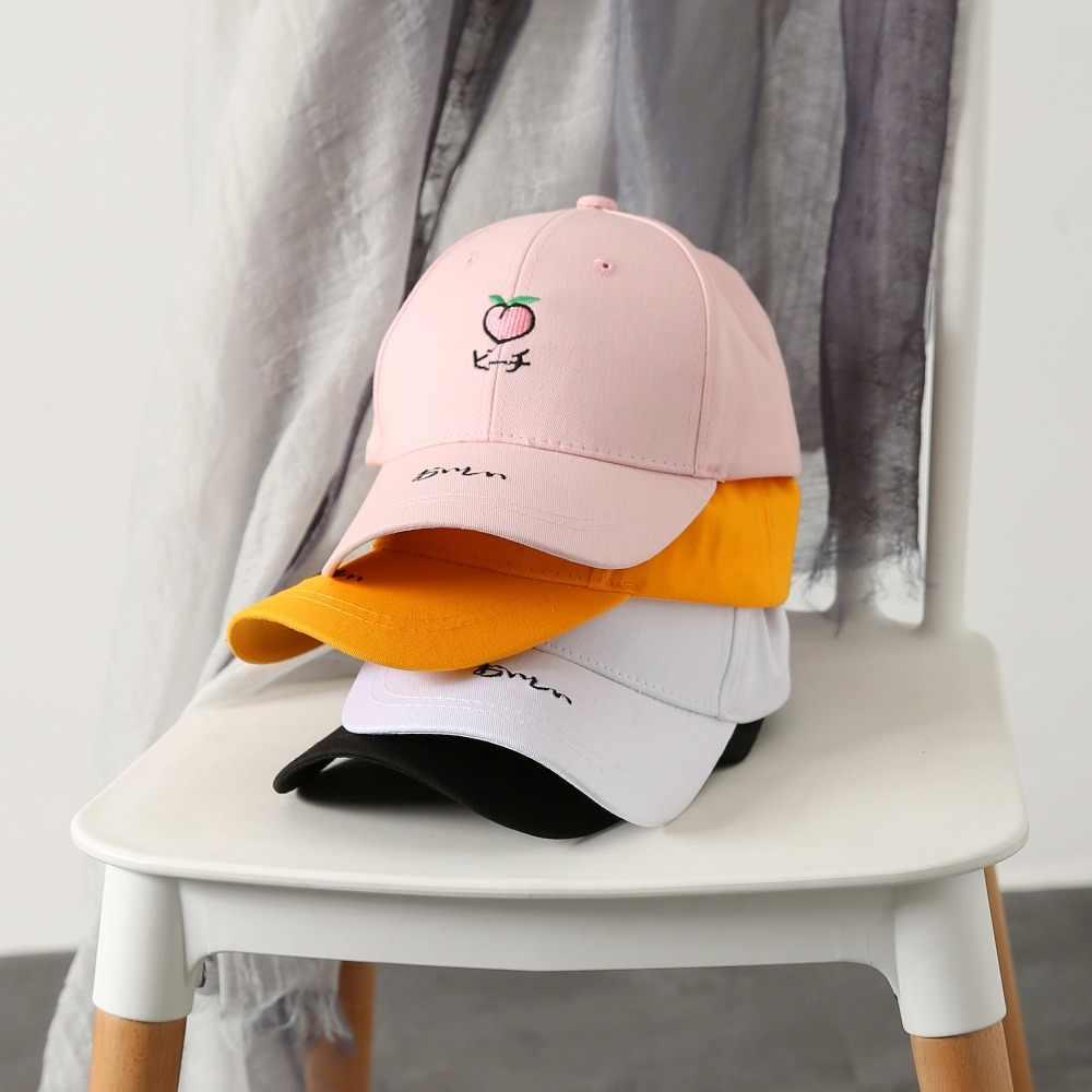 ผู้ชายผู้หญิงเบสบอลหมวก Rapper Hip Hop หมวกเย็บปักถักร้อยผลไม้พีชพ่อหมวกฝ้าย Snapback หมวก Unisex bone gorras