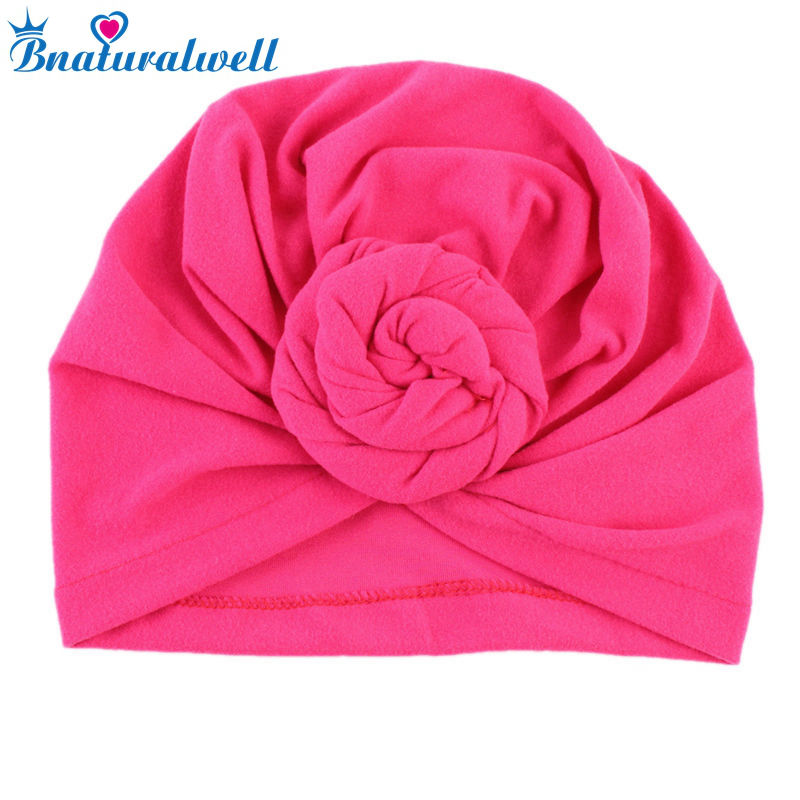 Bnaturalwell Fashion Turban flower Baby full turban hat Vintage style Top knot Turban headwrap Baby headband Toddler cap H068S imucci 13 colors solid muslim turban cap women elastic beanies hat bandanas big satin bonnet indian women turban black red