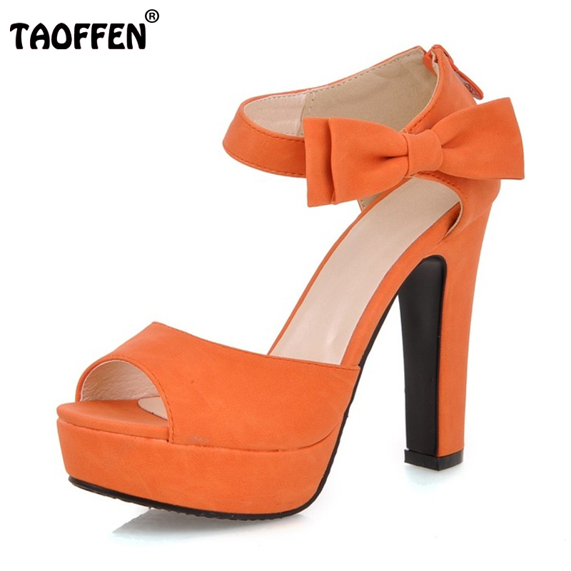 Size 31-43 Women High Heel Sandals Peep toe Ankle Strap Orange Black Thick High Heel Sandals Platform Lady Women Shoes Women's women sandals new summer peep toe ankle strap thick high heel sandals platform high quality casual fashion shoes size 31 43