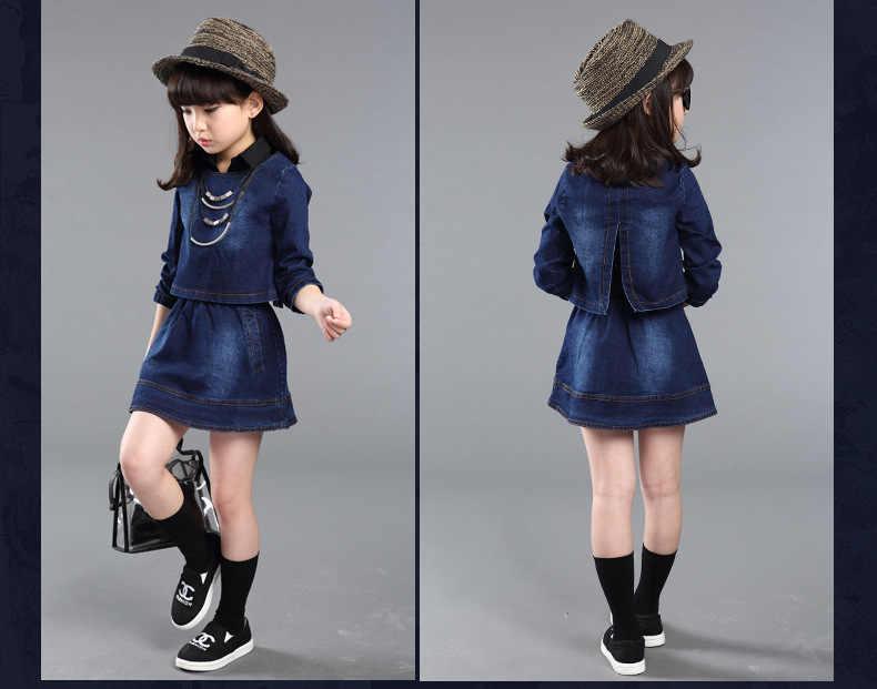 67528bfff Moda bebé niña falda de Jean conjunto-Collar vestido + Top de manga larga  chico 2 piezas de primavera y otoño ropa de mezclilla para niños traje ...