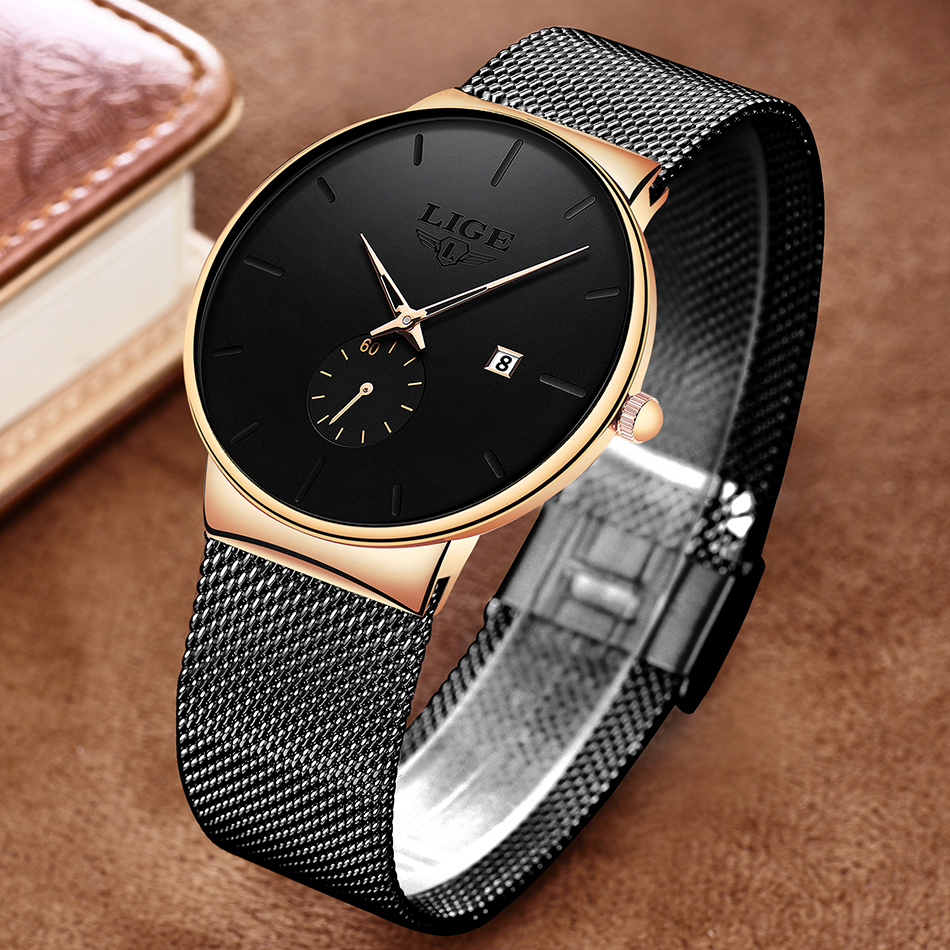 HTB1VHalXoY1gK0jSZFMq6yWcVXa5 2019 LIGE Mens Watches Top Brand Luxury Fashion Wrist Watch For Men Quartz Clock Clock Male Ultra-Thin Mesh Belt Waterproof+Box