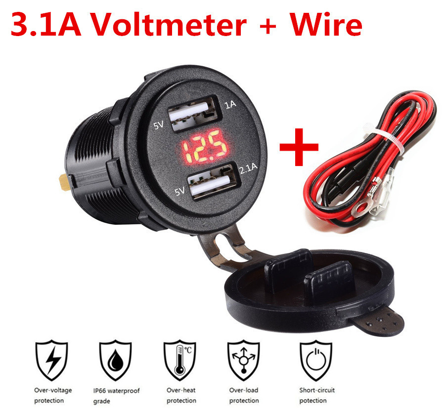 3 Colors Waterproof Dual USB Power Outlet 3.1A with Voltmeter & Wire In-line 10A Fuse for 12-24V Car Boat Marine Motorcycle image
